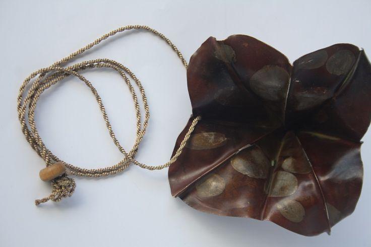 Fold Formed Pendant  By Yoshiko Ito Copper, Silver, Silk cord