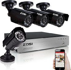 ZOSI 4 Pack 800TVL 960H Day Night Vision Weatherproof 42IR Infrared Lens Security Cameras Kits http://ecx.images-amazon.com/images/I/416yj4HCOvL._SL75_.jpg 1/3'' Color CMOS with IR-Cut Image Sensor Camera 800 TV lines of colored resolution for high quality image Weather and vandal resistant housing that can withstand the toughest of outdoor conditions 42 high-intensity infrared LEDs,allows up to 120ft night vision Auto Gain Control (AGC) and Back Light C...