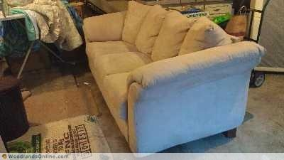 Faux Suede Ashley Sofa - The Woodlands Texas Furniture For Sale - Living Furniture Classifieds on Woodlands Online