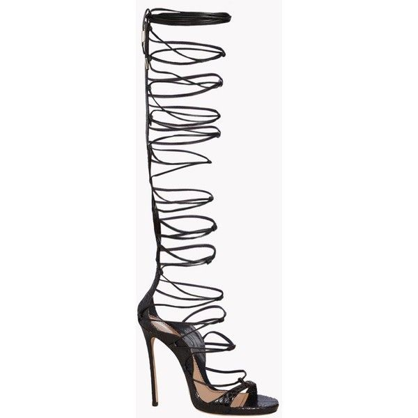 Dsquared2 High-heeled Sandals (1,895 CAD) ❤ liked on Polyvore featuring shoes, sandals, zipper sandals, zip shoes, heeled sandals, leather sole shoes and snake skin shoes