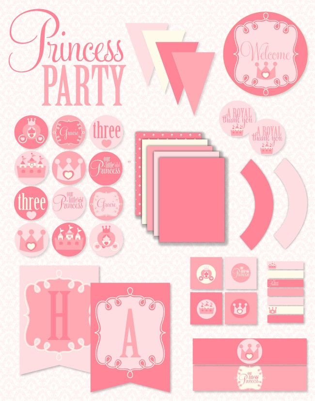 Pinkalicious Princess Party PRINTABLE Full Birthday Party Set by Love The Day. $45.00, via Etsy.