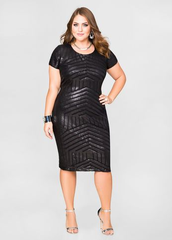 Love the detailsof this -Tonal Sequin Sheath Dress, Plus Size