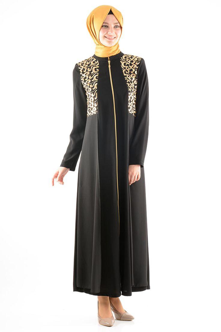 black and gold long maxi dress jilbab abaya with long sleeves, black modest dress, black islamic clothing, muslim hijab dress, golden design by NevaStyleCanada on Etsy