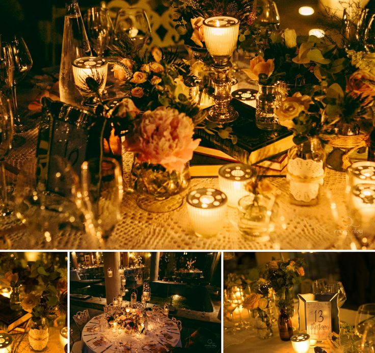 Lace, wild flowers, candles, books.. the decoration couldn't be more vintage and elegant!