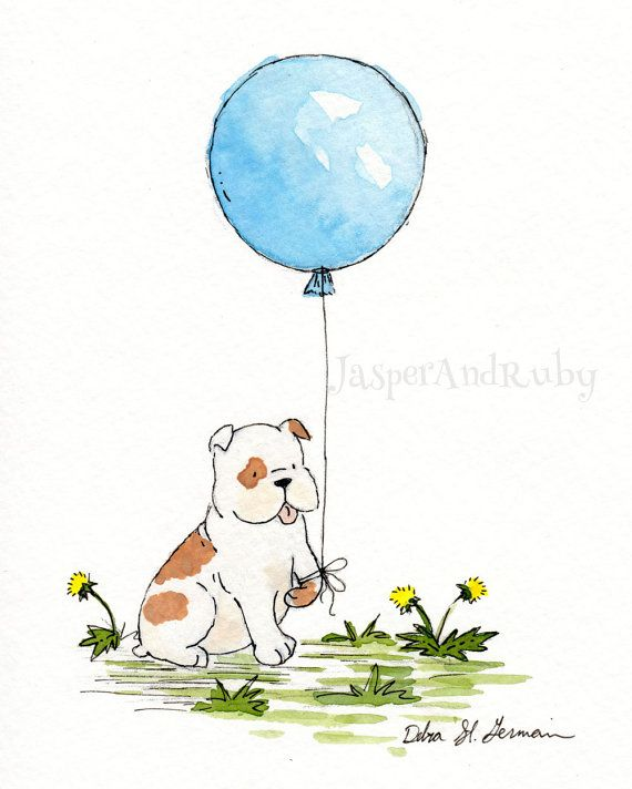 Bulldog Art- Bulldog's Blue Balloon 5x7 8x10 11x14 Archival Print- English Bulldog Nursery Wall Art- Children's Decor