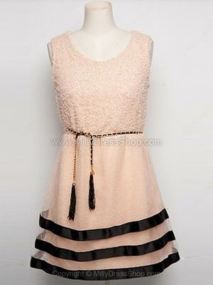 Pink Sleeveless Cascading Ruffle Elasic Waist Dress