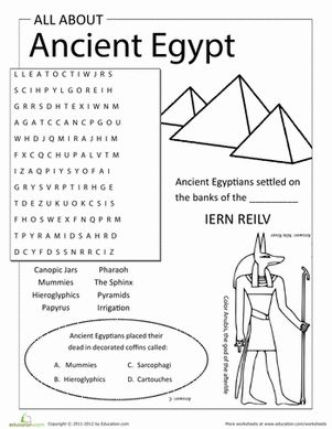 Third Grade History Community & Cultures Word Search Worksheets: All About Ancient Egypt
