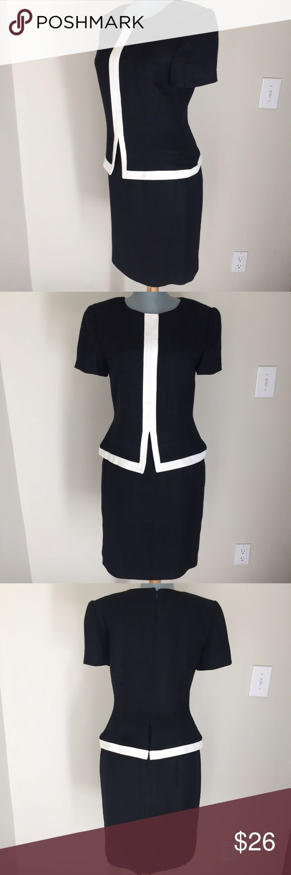 "Donna Ricco Black and White Dress Donna Ricco Black and White Dress. Gorgeous. Bust 36"". Waist 29"". Hips 36"". Waist to hem 22"". Good condition. Sophisticated and smart. Donna Ricco Dresses"