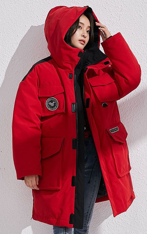 8496940af2e Fine-red-down-coat-winter-casual-hooded-snow-jackets-big-pockets-overcoat