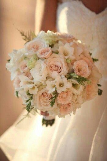 {Creamy Blush Roses, White Lisianthus, Light Green Spray Roses, White Freesia, Astilbe & Green Foliage}