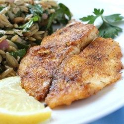 "Pan-Seared Tilapia | """"This pan-seared tilapia dish is a delicious and easy way to prepare seafood! Great for a quick weeknight meal accompanied with fresh veggies. Try this healthy dish full of flavor and nutrition!"""""