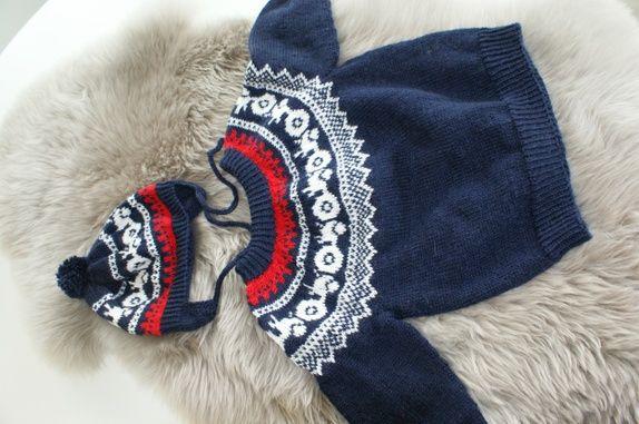 Traktor genser med lue