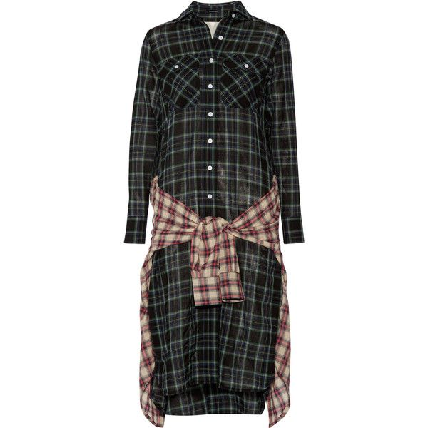 R13 Grunge wrap-effect checked wool-blend gauze dress ($420) ❤ liked on Polyvore featuring dresses, dark green, colorful dresses, gauze dress, multi-color dress, wrap tie dress and wrap around dress