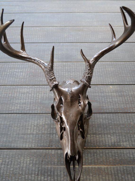 Bronze Painted Deer Skull  8 points  by LittleRandomBoutique, $125.00