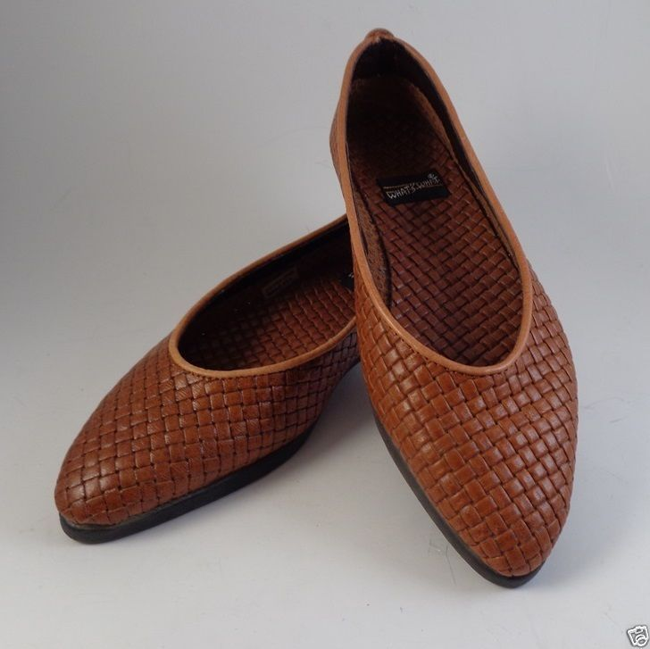 Womens Leather Brown Flat Loafers Woven Shoes Size 7.5 M what's What Aerosole #Aerosole #LoafersMoccasins