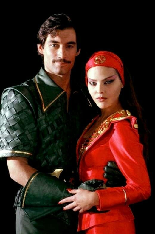 Timothy dalton as Prince Baron, and Ornela Muti as Aoura in Flash Gordon 1980