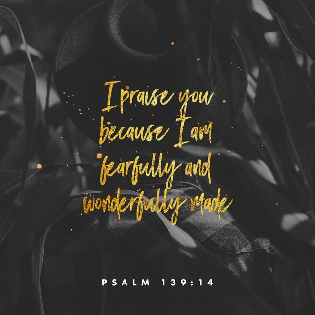 """""""For thou hast possessed my reins: thou hast covered me in my mother's womb. I will praise thee; for I am fearfully and wonderfully made: marvellous are thy works; and that my soul knoweth right well."""" Psalms 139:13-14 KJV http://bible.com/1/psa.139.13-14.kjv"""