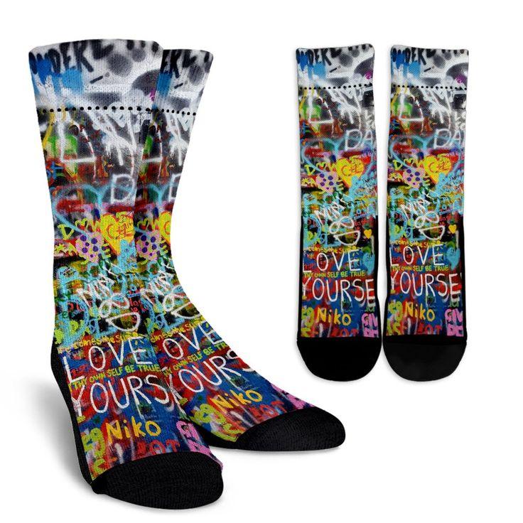 Lennon Wall Graffiti Crew Socks
