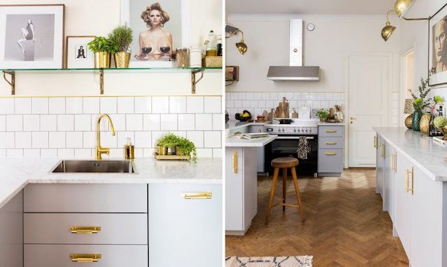 Light Grey Kitchen with brass details - Alcro Trend magazine - Photo Klas Sjöberg - vintage furniture, eclectic, tile, wooden floor, art, tile, brass..