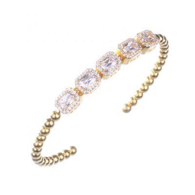 925 Ayar Gümüş Sarı Yaldızlı Beş taşlı Prenses Kesim Taşlı Bilezik