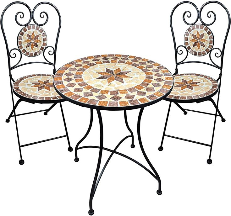 Dszapaci Gartengarnitur Mosaiktisch 2 Stuhle Mosaik Sitzgarnitur