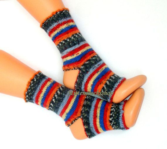 Yoga socks Hand knitted yoga socks Multicolor yoga socks Striped sock yarn Bright dance socks Pedicure socks Feet leg warmers Pilates socks