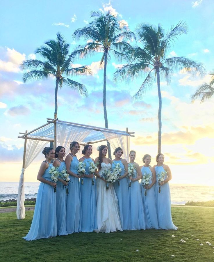 Capri colored bridesmaid dress