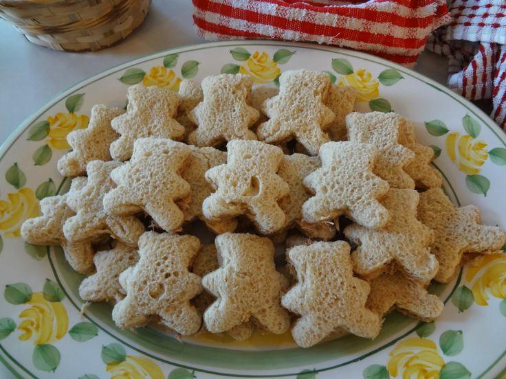 Teddy Bear Picnic Birthday Party: Cookie cutter teddy bear sandwiches