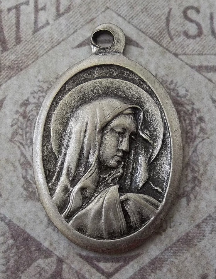 Mater Dolorosa Sorrowful Mother Blessed Virgin Mary Pray For Us Holy Italian Religious Medal