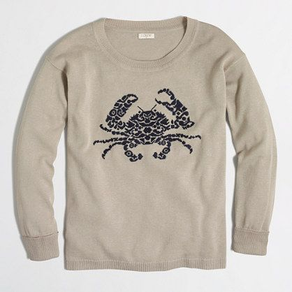 J.Crew Factory - Factory embroidered crab cotton-linen sweater