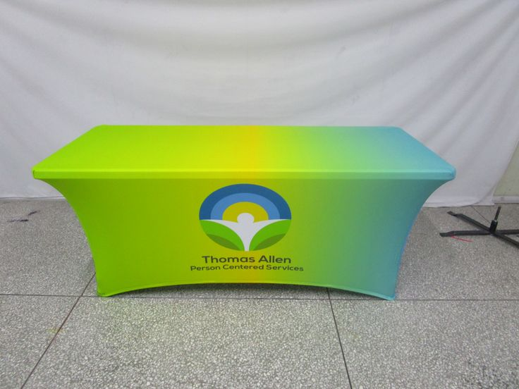 Stretch table cloth and the brightness here holy!!!! We have many different styles of cloth and can do any custom size you need, call us today for a great quote!  #ohmyprint #printing #displays #fabricprinting #tablecloth #stretch #bright #green #yellow #rgb
