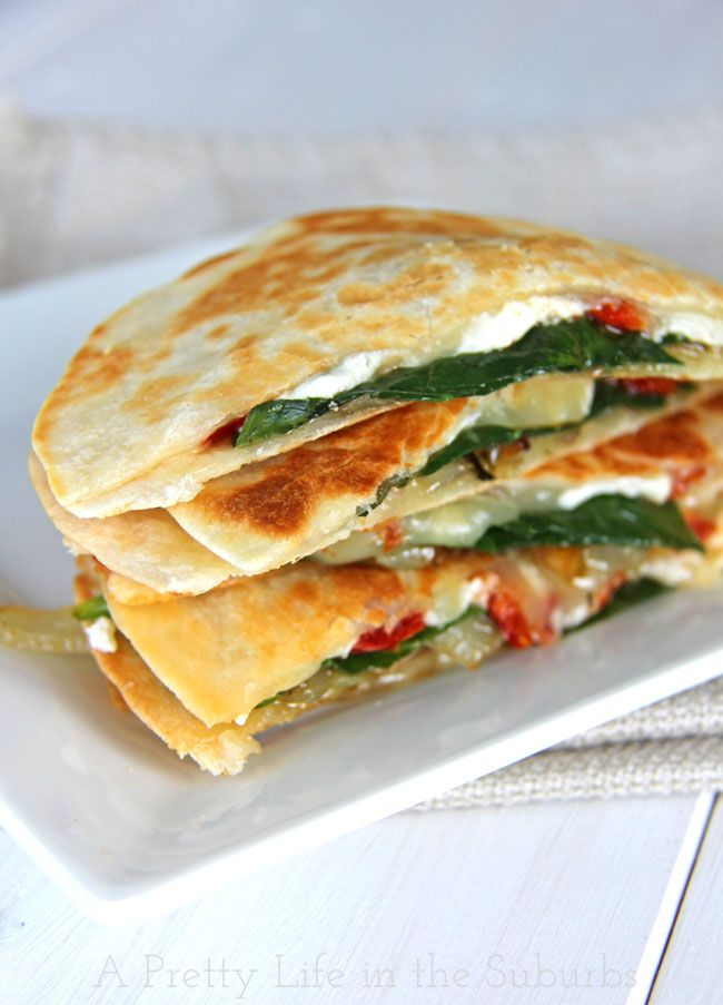 Spinach & Goat Cheese Quesadillas with Caramelized Onions and Sundried ...