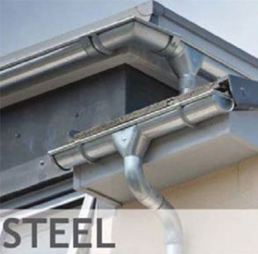 ALUMASC Steel gutters. If you're tired of leaking and shrinking gutters, this lightweight steel range offers a cost-effective alternative to plastic gutters.  Available in steel: Galvanised or a Black Pre-coated Finish 6 other galvanised pre-coated colour finishes upon request