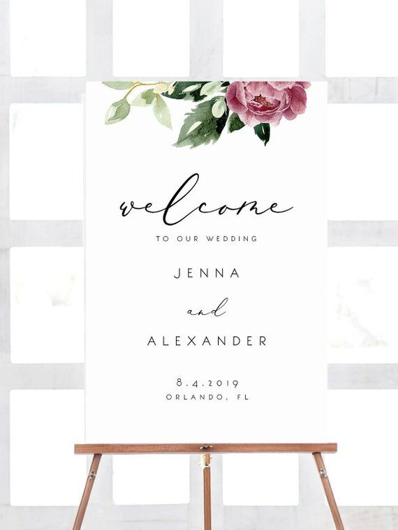 Welcome Sign Template Merlot Peony Instant Download Editable