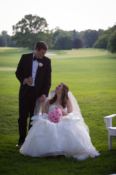 Molly and Andrew taking a few minutes during the reception to lounge in the beach chairs and share a moment just to themselves. Molly and Andrew's wedding at the Chevy Chase Club in Chevy Chase, Maryland. #weddings #marylandweddings
