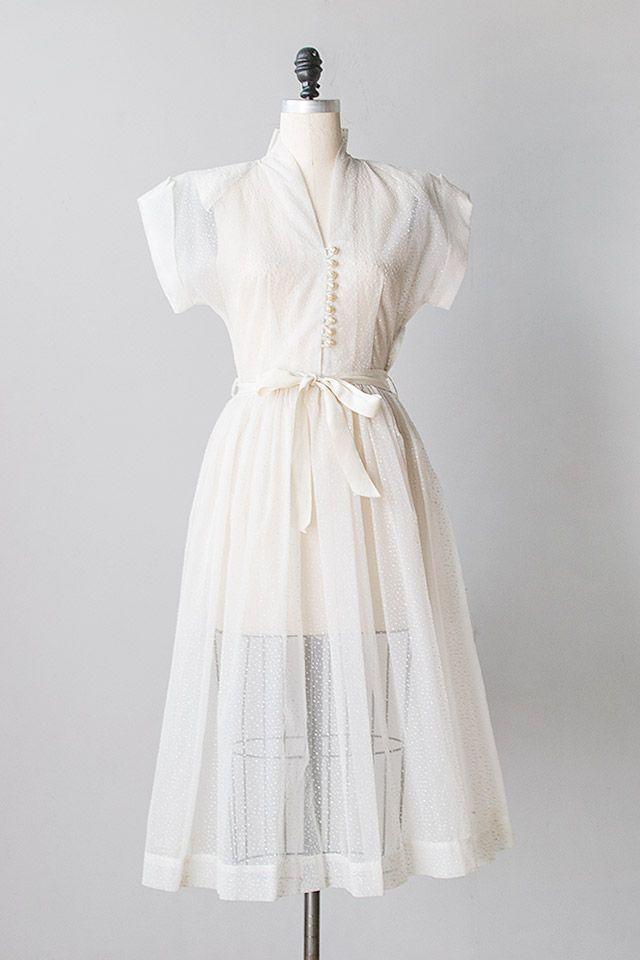 vintage 1940s sheer flocked dots dress