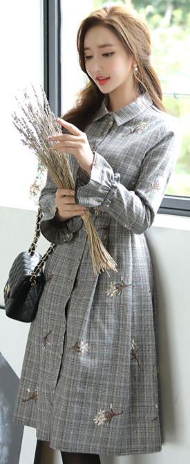 StyleOnme_Flower Embroidered Check Print Collared Dress #floral #check #feminine #dress #falltrend #koreanfashion #kstyle #kfashion #autumnlook