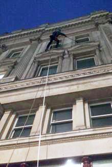 Abseiling Pall Mall at 6am. Rope access being the perfect choice for #windowcleaning  these iconic buildings