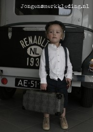 suspenders - linen granddad shirt - linen navy stripe trousers - flat-cap for wedding - ring bearer
