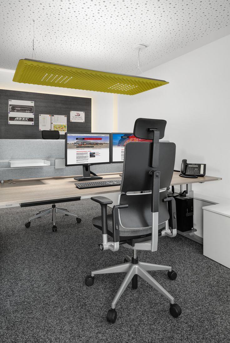 Schön Ergonomischer Bürostuhl, Lifttisch, Monitor, Akustikdecke, Deckenabsorber,  Lampe, Grün, Stahl