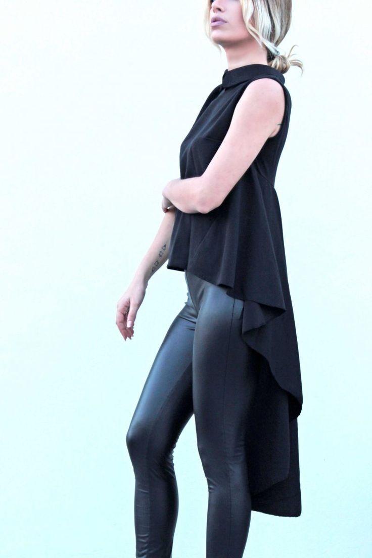 Πουκαμίσα με γιακά και βολάν με ουρά πίσω. #fashion #woman #womensfashion #fashiontrends