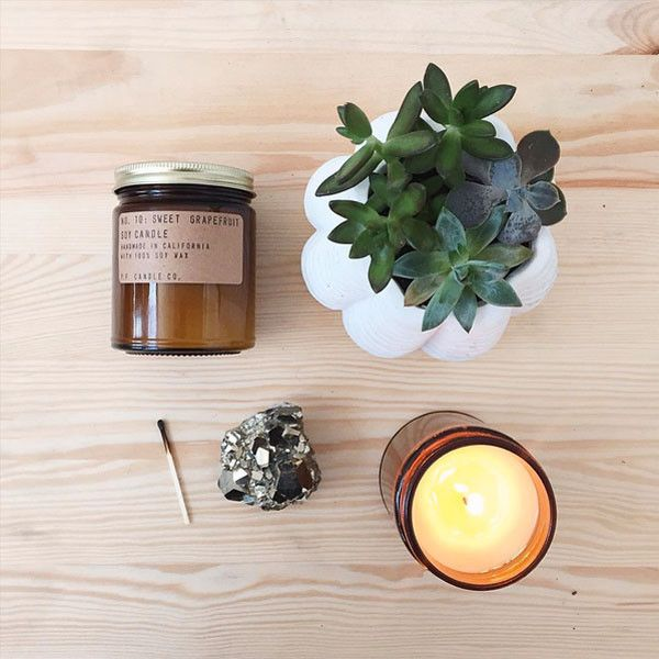 Sweet Grapefruit. Shop now at The Candle Library. P.F. Candle Co. hand pour their candles in LA using 100% soy wax.