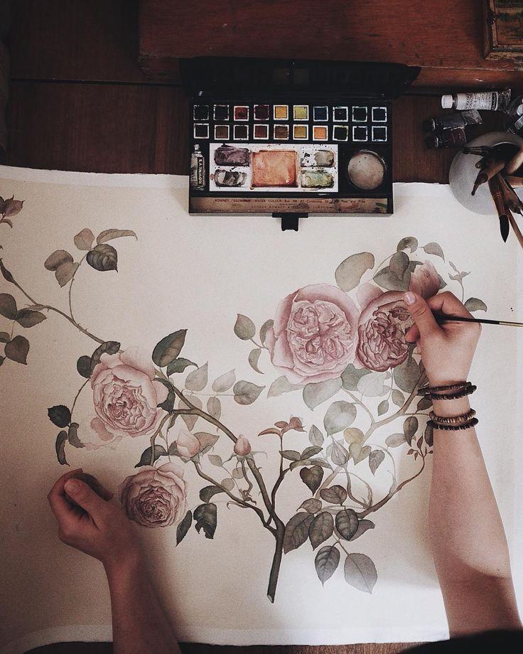 My current desk situation..still in progress 🌸 My largest painting for the smartest and loveliest lady 💛 Я пишу эту ветку неприлично долго..) У нас с ней очень сложные отношения, но я в неё верю 🌸 Нравится..? (Спросила я робея ) #sillmarilli_artwork