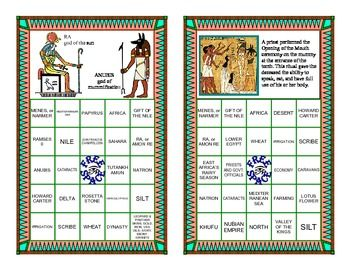 Ancient Egyptian Review in a Bingo Game Format This artistically designed game is a fun-filled way to give your class a  thorough review of Ancient Egyptian history.      CONTENTS of 18-page package: • Cover sheet/ Directions • 2 sheets of question cards review terms, concepts, and definitions about Ancient Egypt; 40 questions total • 12 sheets of game boards; 24 game boards total, 4 different designs • 1 sheet of blank question cards • 2 sheets of game cards without answers; 4 cards total