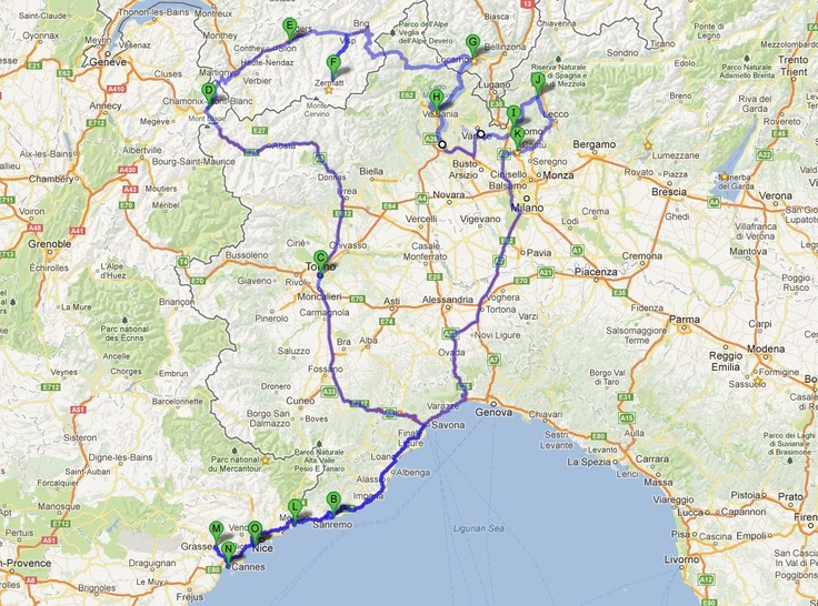 Nice -Turin - Chamonix - Zermatt - Lake Magiore - lake Como - Menton - Cannes - Monaco - Grass - Nice