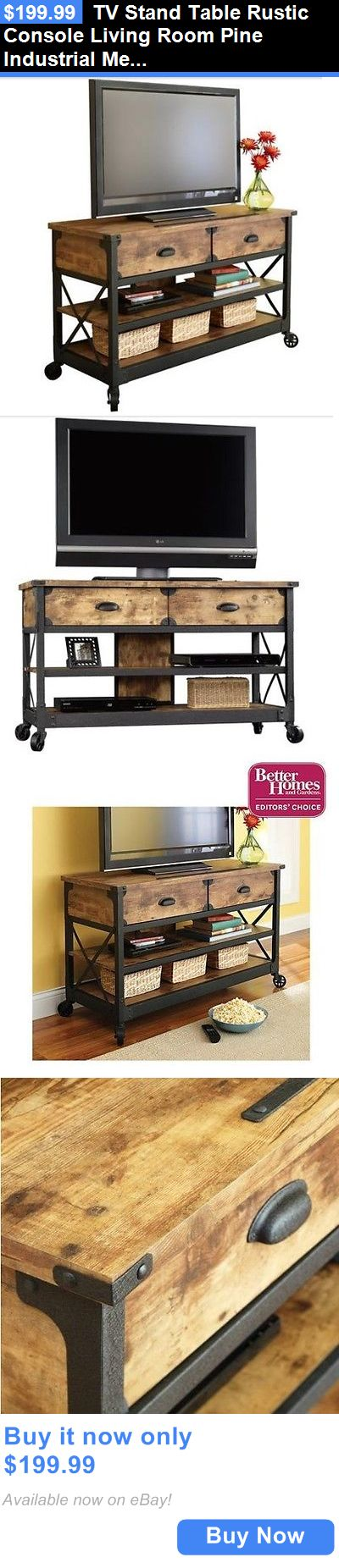 Entertainment Units TV Stands: Tv Stand Table Rustic Console Living Room  Pine Industrial Media Cabinet