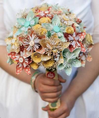 Ditch the droopy bouquet for a paper arrangement that will last long after you say I do.