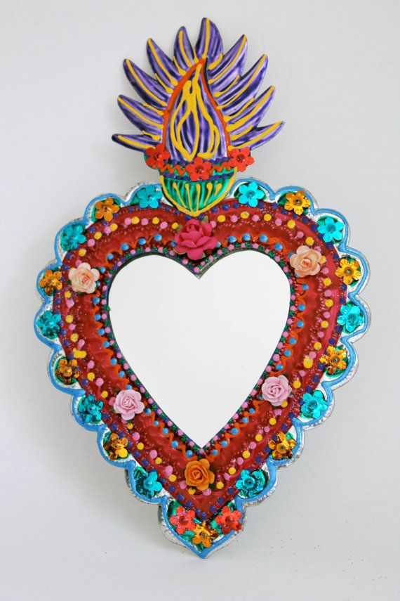 Sacred Heart tin metal mirror / Mexican folk art by TheVirginRose, $39.00