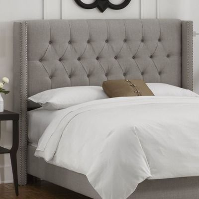 Skyline Furniture Tufted Upholstered Headboard- love the color and how it has the small wrap around part