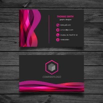 Tarjeta de visita ondulada rosa y negra